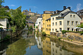 Grund district with Alzette river, Luxemburg, Luxembourg, Europe