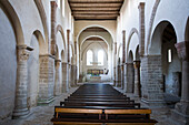 Interior of romanic abbey church, Abbey Druebeck, Harz, Saxony-Anhalt, Germany