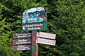 Wooden sign, carved wooden sign, railway station Schierke, Harz, Saxony-Anhalt, Germany