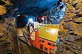 Mine railway, Mining Museum Rabensteiner Stollen, Netzkater, Illfeld, Harztor, Thuringia, Germany