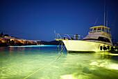 Yacht at night, Elounda, Agios Nikolaos, Crete, Greece
