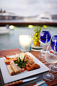 Dinner in a hotel restaurant, Elounda, Agios Nikolaos, Crete, Greece