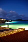 Hotel terraces at sea, Elounda, Agios Nikolaos, Crete, Greece