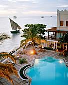 Serena Inn Hotel, former palace now luxury hotel of Aga Khan Group at the Forodhani shore of Stone Town, Zanzibar, Tanzania, East Africa