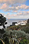 White village on the Island of Stromboli, Island of Stromboli, Aeolian Islands, Sicily, Italy