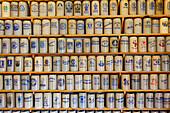 Collection of steins, Brewery Culture museum, Gut Riedelsbach, Lower bavaria, Bavaria, Germany, Europe