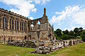 The ruins of Bolton Abbey under clouded sky, Yorkshire Dales National Park, Yorkshire Dales, Yorkshire, England, Great Britain, Europe