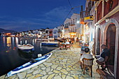 Cafes and Bars on the quay in the evening, Kastelorizo Megiste, Dodecanese Islands, Greece, Europe