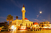 Eleftherias Square and Defterdar mosque in the evening, Kos town, Kos, Dodecanese Islands, Greece, Europe