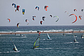 Kite surfing at Prasonisi beach, Prasonisi peninsula, Rhodes, Dodecanese Islands, Greece, Europe