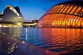 Hemisferic and Queen Sofia Palace of the Arts, City of Arts and Sciences, Valencia, Comunidad Valenciana, Spain