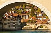 Looking through the Nydeggbrucke bridge to the Untertorbrucke on the Aare River, Bern, Canton Bern, Switzerland