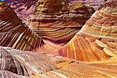 The Wave , a 190 million year old Jurassic-age Navajo sandstone rock formation, Coyote Buttes North, Paria Canyon-Vermillion Cliffs Wilderness Area, Utah-Arizona border, USA