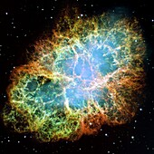 The Crab Nebula The Crab Nebula, the result of a supernova noted by Earth-bound chroniclers in 1054 A D, is filled with mysterious filaments that are are not only tremendously complex, but appear to have less mass than expelled in the original supernova