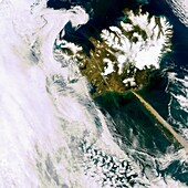 A heavy plume of ash from Iceland´s Eyjafjallajoekull volcano is visible travelling over the Atlantic in this Envisat Medium Resolution Imaging Spectrometer image acquired on 11 May 2010  The narrow shape of the ash cloud indicates a lot of wind is blowin