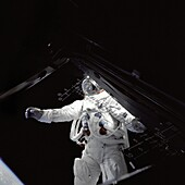 Astronaut Russell Schweickart, lunar module pilot, stands on the module´s deck during his spacewalk on the fourth day of the Apollo 9 mission  This photograph was taken from inside the lunar module ´Spider´ by mission commander James McDivitt   Apollo 9 w