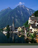 Austria, Europe, Hallstatt, houses, lake, mountains. Austria, Europe, Hallstatt, Holiday, Houses, Lake, Landmark, Mountains, Quaint, Residential, Serene, Tourism, Travel, Vacation