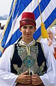 costume, embroidery, Europe, european, fez, flag, G. Costume, Embroidery, Europe, European, Fez, Flag, Greece, Europe, Greek, Holiday, Landmark, Outdoors, People, Tassel, Teen, Teen