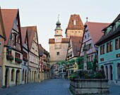 Bavaria, city, clock, cobblestone, Germany, houses, . Bavaria, City, Clock, Cobblestone, Germany, Europe, Holiday, Houses, Landmark, Medieval, Quaint, Road, Romantic, Rothenburg, Sho