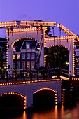 Amsterdam, architecture, bridge, drawbridge, Europe. Amsterdam, Architecture, Bridge, Drawbridge, Europe, Festive, Holiday, Landmark, Lights, Magere, Netherlands, Night, Tourism, Tr