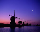 agriculture, Europe, Kinderdijk, moon, Netherlands, . Agriculture, Europe, Holiday, Kinderdijk, Landmark, Moon, Netherlands, Silhouette, Sunset, Tourism, Tranquil, Travel, Vacation