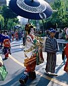 asakusa, Asia, Asian, costume, geisha, group, Japan. Asakusa, Asia, Asian, Costume, Geisha, Group, Holiday, Japan, Japanese, Landmark, Outdoors, Parade, Parasol, People, Tokyo, Tour