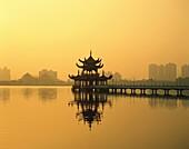 Asia, Kaoshiung, lake, Lotus Lake, pagoda, silhouet. Asia, Holiday, Kaoshiung, Lake, Landmark, Lotus, Pagoda, Silhouette, Taiwan, Tourism, Travel, Vacation