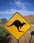 Australia, Ayers Rock, Kangaroo Road Sign, Northern. Australia, Ayers rock, Holiday, Kangaroo, Landmark, Northern territory, Road, Sign, Tourism, Travel, Vacation