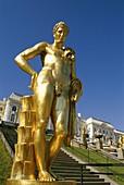 Gilded Bronze Sculptures, Peterhof Palace, Petrodvo. Bronze, Gilded, Holiday, Landmark, Palace, Peterhof, Petersburg, Petrodvorets, Russia, Sculptures, Tourism, Travel, Vacation