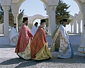 Cyclades Islands, Fira, Greece, Greek Ortodox Pries. Cyclades, Fira, Greece, Europe, Greek, Holiday, Islands, Landmark, Ortodox, Priests, Santorini, Thira, Tourism, Travel, Vacation