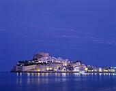 Costa del Azahar, Night View, Peniscola, Spain, Old. Costa del azahar, Holiday, Landmark, Night, Old town, Peniscola, Spain, Europe, Tourism, Travel, Vacation, Valencia, View
