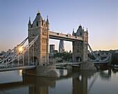 Dawn, England, London, Thames River, Tower Bridge, . Dawn, England, United Kingdom, Great Britain, Holiday, Landmark, London, Thames river, Tourism, Tower bridge, Travel, Vacation