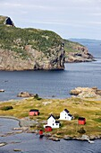 Aerial view of Burden´s Point, Salvage village, east coast of Newfoundland, Canada