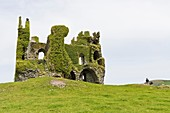 Ruins of Ballycarberry Castle on the Ring of Kerry, Ireland, Europe