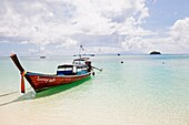 Traditional boat in a paradise beach in Koh Lipe, Thailand