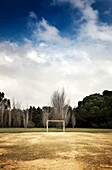 Football field in a park in Seville, in a cloudy day