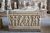 roman funeral urn, archaeological museum, side, anatolia, mediterranean coast, turkey, asia