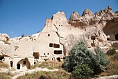 geological formations, mosque, zelve open-air museum, cappadocia, anatolia, turkey, asia