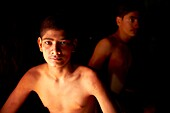India, Maharashtra, Kolhapur, Motibag Thalim, name of the wresling school, traditional Kushti, practice since more than 3000 years, young boys leave at the school and use to train more than 6 hours a day