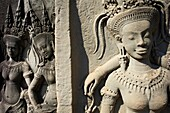 Southeast Asia, Cambodia, Siem Reap Province, Angkor site, Unseco world heritage of UNESCO since 1992, Angkor Wat temple, XII th century, relief sculpture of Apsara, heavenly and holy dancers of Khmer Kingdom