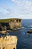 Brough of Bigging YESNABY ORKNEY West coast seacliff evening dusk person walking to cairn
