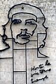 Havana, Cuba  The imposing image of Che Guevara on the facade of the Ministry of the Interior building, Plaza de la Revolucion