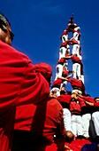 Nens del Vendrell ´Castellers´ building human tower, a Catalan tradition Biannual contest  bullring Tarragona, Catalonia, Spain