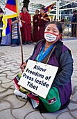 women´s demonstration, for the freedom of Tibetan women, in Namgyal Monastery, Tsuglagkhang complex  McLeod Ganj, Dharamsala, Himachal Pradesh state, India, Asia