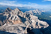 Cortina, view of Tofana Di Mezzo and the Rifugio Giussani from the summit of Tofana Di Rozes after climbing the Giovanni Lipella via ferrata on Tofana De Rozes in the Dolomite Mountains near the city of Cortina in northern Italy