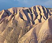 Tufa erosion near Uchisar, Goereme National Park, UNESCO World Nature Site, Cappadocia, Anatolia, Turkey