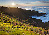 View from Terxeira onto Canario, sea of clouds, Madeira, Portugal