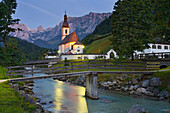 Ramsau church in the evening light, Ramsauer Ache, Berchtesgadener Land, Upper Bavaria, Bavaria, Germany