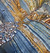 Rock structure, Playa del Silencio, Cudillero, Asturias, Green Spain, Spain