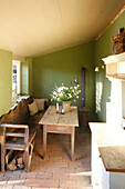 Green room with old furniture, Klein Thurow, Roggendorf, Mecklenburg-Western Pomerania, Germany